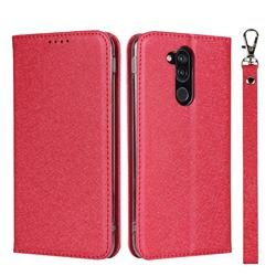 Ultra Slim Magnetic Automatic Suction Silk Lanyard Leather Flip Cover for Docomo LG style2 L-01L (6.0 inch) - Red