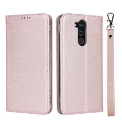 Ultra Slim Magnetic Automatic Suction Silk Lanyard Leather Flip Cover for Docomo LG style2 L-01L (6.0 inch) - Rose Gold