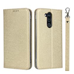 Ultra Slim Magnetic Automatic Suction Silk Lanyard Leather Flip Cover for Docomo LG style2 L-01L (6.0 inch) - Golden