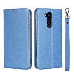 Ultra Slim Magnetic Automatic Suction Silk Lanyard Leather Flip Cover for Docomo LG style2 L-01L (6.0 inch) - Sky Blue