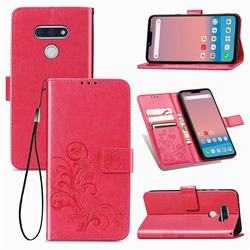 Embossing Imprint Four-Leaf Clover Leather Wallet Case for LG style3 L-41A (Docomo) - Rose Red