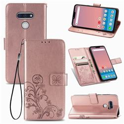 Embossing Imprint Four-Leaf Clover Leather Wallet Case for LG style3 L-41A (Docomo) - Rose Gold