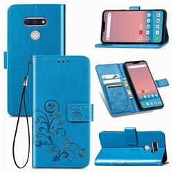 Embossing Imprint Four-Leaf Clover Leather Wallet Case for LG style3 L-41A (Docomo) - Blue