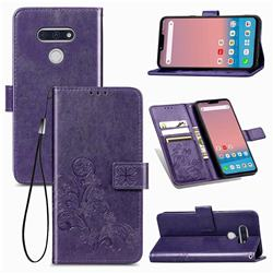 Embossing Imprint Four-Leaf Clover Leather Wallet Case for LG style3 L-41A (Docomo) - Purple