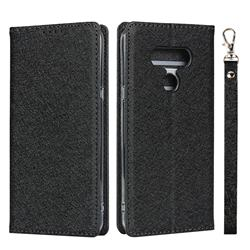 Ultra Slim Magnetic Automatic Suction Silk Lanyard Leather Flip Cover for LG style3 L-41A (Docomo) - Black