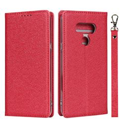 Ultra Slim Magnetic Automatic Suction Silk Lanyard Leather Flip Cover for LG style3 L-41A (Docomo) - Red