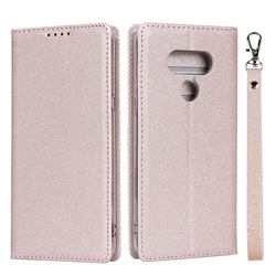 Ultra Slim Magnetic Automatic Suction Silk Lanyard Leather Flip Cover for LG style3 L-41A (Docomo) - Rose Gold