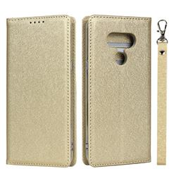 Ultra Slim Magnetic Automatic Suction Silk Lanyard Leather Flip Cover for LG style3 L-41A (Docomo) - Golden