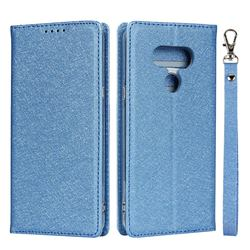 Ultra Slim Magnetic Automatic Suction Silk Lanyard Leather Flip Cover for LG style3 L-41A (Docomo) - Sky Blue