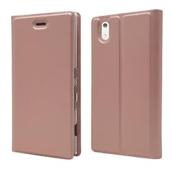 Ultra Slim Card Magnetic Automatic Suction Leather Wallet Case for Docomo Mono MO-01K - Rose Gold
