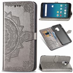 Embossing Imprint Mandala Flower Leather Wallet Case for Docomo Galaxy Feel2 SC-02L - Gray