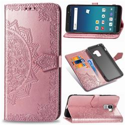 Embossing Imprint Mandala Flower Leather Wallet Case for Docomo Galaxy Feel2 SC-02L - Rose Gold