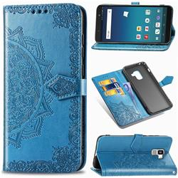Embossing Imprint Mandala Flower Leather Wallet Case for Docomo Galaxy Feel2 SC-02L - Blue