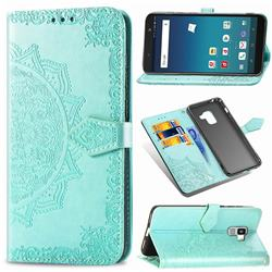 Embossing Imprint Mandala Flower Leather Wallet Case for Docomo Galaxy Feel2 SC-02L - Green