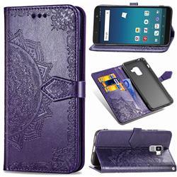 Embossing Imprint Mandala Flower Leather Wallet Case for Docomo Galaxy Feel2 SC-02L - Purple