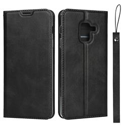 Calf Pattern Magnetic Automatic Suction Leather Wallet Case for Docomo Galaxy Feel2 SC-02L - Black