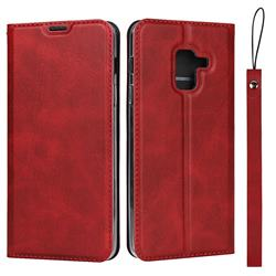 Calf Pattern Magnetic Automatic Suction Leather Wallet Case for Docomo Galaxy Feel2 SC-02L - Red