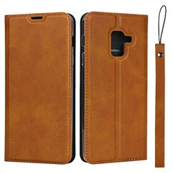 Calf Pattern Magnetic Automatic Suction Leather Wallet Case for Docomo Galaxy Feel2 SC-02L - Brown