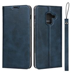 Calf Pattern Magnetic Automatic Suction Leather Wallet Case for Docomo Galaxy Feel2 SC-02L - Blue