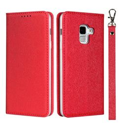 Ultra Slim Magnetic Automatic Suction Silk Lanyard Leather Flip Cover for Docomo Galaxy Feel2 SC-02L - Red