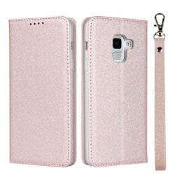 Ultra Slim Magnetic Automatic Suction Silk Lanyard Leather Flip Cover for Docomo Galaxy Feel2 SC-02L - Rose Gold