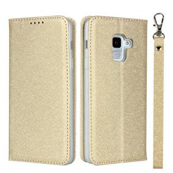 Ultra Slim Magnetic Automatic Suction Silk Lanyard Leather Flip Cover for Docomo Galaxy Feel2 SC-02L - Golden