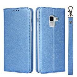Ultra Slim Magnetic Automatic Suction Silk Lanyard Leather Flip Cover for Docomo Galaxy Feel2 SC-02L - Sky Blue