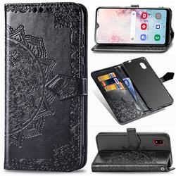 Embossing Imprint Mandala Flower Leather Wallet Case for Docomo Galaxy A20 (Japanese version, SC-02M, UQ) - Black