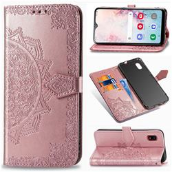 Embossing Imprint Mandala Flower Leather Wallet Case for Docomo Galaxy A20 (Japanese version, SC-02M, UQ) - Rose Gold