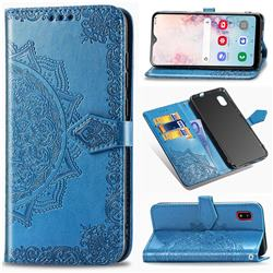 Embossing Imprint Mandala Flower Leather Wallet Case for Docomo Galaxy A20 (Japanese version, SC-02M, UQ) - Blue