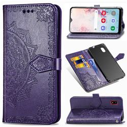 Embossing Imprint Mandala Flower Leather Wallet Case for Docomo Galaxy A20 (Japanese version, SC-02M, UQ) - Purple