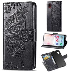 Embossing Mandala Flower Butterfly Leather Wallet Case for Docomo Galaxy A20 (Japanese version, SC-02M, UQ) - Black