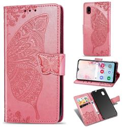 Embossing Mandala Flower Butterfly Leather Wallet Case for Docomo Galaxy A20 (Japanese version, SC-02M, UQ) - Pink