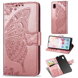 Embossing Mandala Flower Butterfly Leather Wallet Case for Docomo Galaxy A20 (Japanese version, SC-02M, UQ) - Rose Gold