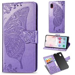 Embossing Mandala Flower Butterfly Leather Wallet Case for Docomo Galaxy A20 (Japanese version, SC-02M, UQ) - Light Purple