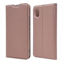 Ultra Slim Card Magnetic Automatic Suction Leather Wallet Case for Docomo Galaxy A20 (Japanese version, SC-02M, UQ) - Rose Gold