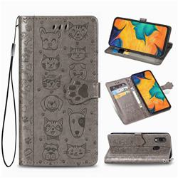 Embossing Dog Paw Kitten and Puppy Leather Wallet Case for Docomo Galaxy A20 (Japanese version, SC-02M, UQ) - Gray