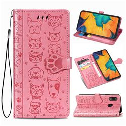 Embossing Dog Paw Kitten and Puppy Leather Wallet Case for Docomo Galaxy A20 (Japanese version, SC-02M, UQ) - Pink
