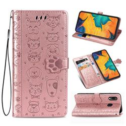 Embossing Dog Paw Kitten and Puppy Leather Wallet Case for Docomo Galaxy A20 (Japanese version, SC-02M, UQ) - Rose Gold