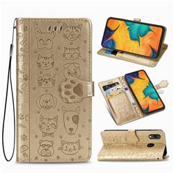 Embossing Dog Paw Kitten and Puppy Leather Wallet Case for Docomo Galaxy A20 (Japanese version, SC-02M, UQ) - Champagne Gold