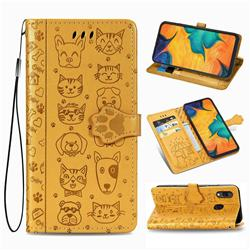 Embossing Dog Paw Kitten and Puppy Leather Wallet Case for Docomo Galaxy A20 (Japanese version, SC-02M, UQ) - Yellow
