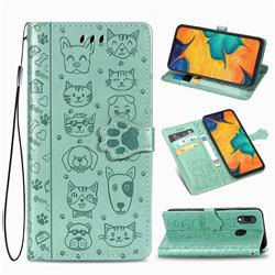 Embossing Dog Paw Kitten and Puppy Leather Wallet Case for Docomo Galaxy A20 (Japanese version, SC-02M, UQ) - Green