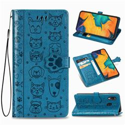 Embossing Dog Paw Kitten and Puppy Leather Wallet Case for Docomo Galaxy A20 (Japanese version, SC-02M, UQ) - Blue