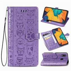 Embossing Dog Paw Kitten and Puppy Leather Wallet Case for Docomo Galaxy A20 (Japanese version, SC-02M, UQ) - Purple
