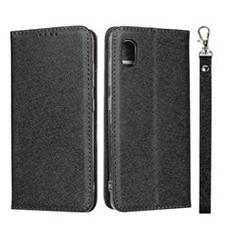 Ultra Slim Magnetic Automatic Suction Silk Lanyard Leather Flip Cover for Docomo Galaxy A20 (Japanese version, SC-02M, UQ) - Black