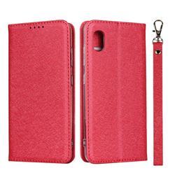 Ultra Slim Magnetic Automatic Suction Silk Lanyard Leather Flip Cover for Docomo Galaxy A20 (Japanese version, SC-02M, UQ) - Red