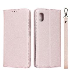 Ultra Slim Magnetic Automatic Suction Silk Lanyard Leather Flip Cover for Docomo Galaxy A20 (Japanese version, SC-02M, UQ) - Rose Gold