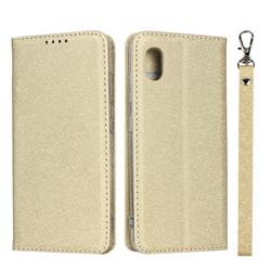 Ultra Slim Magnetic Automatic Suction Silk Lanyard Leather Flip Cover for Docomo Galaxy A20 (Japanese version, SC-02M, UQ) - Golden