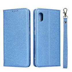 Ultra Slim Magnetic Automatic Suction Silk Lanyard Leather Flip Cover for Docomo Galaxy A20 (Japanese version, SC-02M, UQ) - Sky Blue