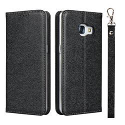 Ultra Slim Magnetic Automatic Suction Silk Lanyard Leather Flip Cover for Docomo Galaxy Feel SC-04J - Black